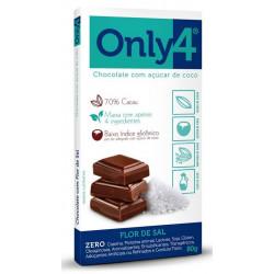 Chocolate com Flor de Sal 70% 80g Only4