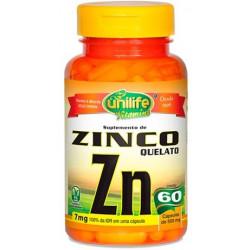 Cápsulas de Zinco Quelato 60 de 500mg Unilife
